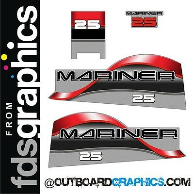Mariner 25hp two stroke outboard engine decals/sticker kit
