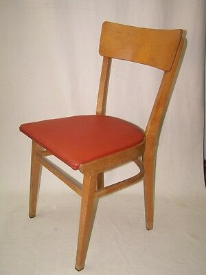 Old Wood Chair, Leather RED, Iconic Vintage Design, 1950s Years Kitchen chair