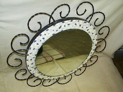 Beautiful antique Mirror, Wall Cult Retro 1960s 1970s Years Design, Mosaic