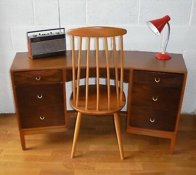Vintage Retro Mid Century John & Sylvia Reid Stag Desk With 6 Drawers Project