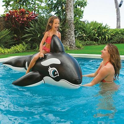 Large Inflatable Whale Ride On Swimming Vinyl Pool Beach Toy Summer Kids Fun
