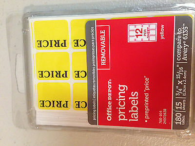 180 Price LABELS Removable Adhesive yellow Price Tag