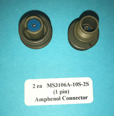 MS3106A-10S-2S Amphenol Cannon Plug Female 1 pin Connector (2 New)