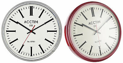 Acctim DOMED WALL CLOCK Chrome or Red oversized 30cm RETRO/CLASSIC