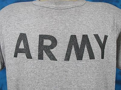 vintage 80s US ARMY HEATHER GRAY DISTRESSED PAPER THIN T-Shirt LARGE military