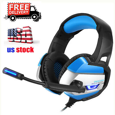 ONIKUMA K5 Stereo Gaming Headsets Headphones for PS4 New Xbox One PC w/ Mic Led