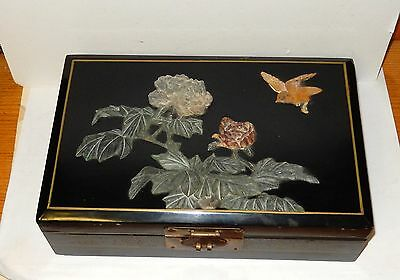 Large Chinese Jade Lacquer Floral Bird Mirror Jewelry Box