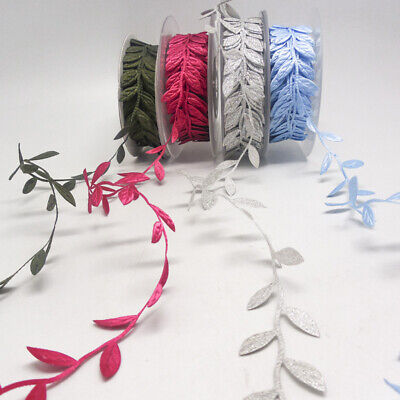 10Yards Satin Leaf Leaves Vine Garland Ribbon Applique Trim Scrapbooking Craft