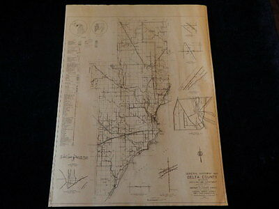 "Vintage 1940 Delta County Highway Planning Survey FWA 18x24"" Sect 1 Road Map MI"