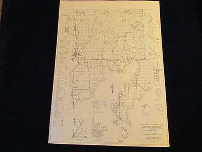 "Vintage 1940 Delta County Highway Planning Survey FWA 18x24"" Sect 2 Road Map MI"