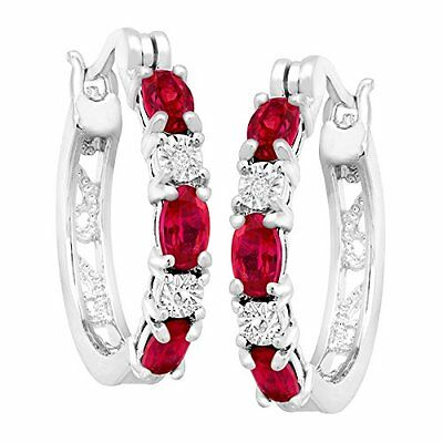 2 ct Ruby Hoop Earrings with Diamonds in Silver Plate