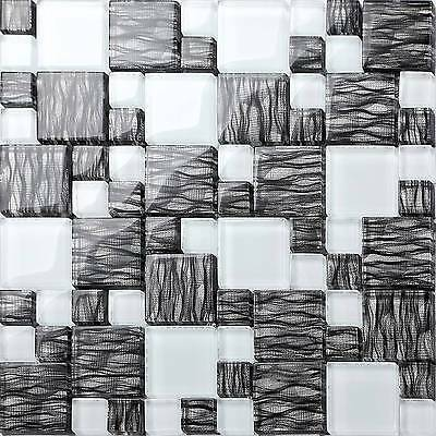 1 SQ M Graphite Effect White Glass Mosaic Bathroom Shower Wall Tiles  0077