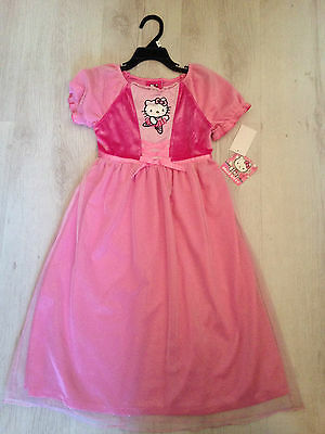 Girls Pink Dress Hello Kitty Official Item Full Length Crushed Velvet Sparkly !