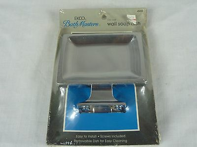 NOS VIntage Ekco 2 Pc Chrome Wall Mount Soap Dish S45600