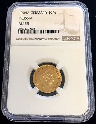 1904 A Gold German States Prussia 10 Mark Wilhelm Ii Coinage Ngc About Unc 55