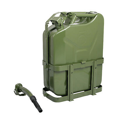 Jerry Can with Holder 20L Liter (5 Gallons) - Steel Tank Fuel Gas Gasoline Green