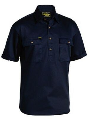 NEW BISLEY Cotton Drill Work Shirt Closed Front Short Sleeve Pocket BSC1433 NAVY