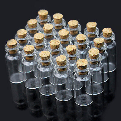 10/20X 1~5ML Clear Mini Small Cork Stopper Glass Vial Jars Containers Bottles