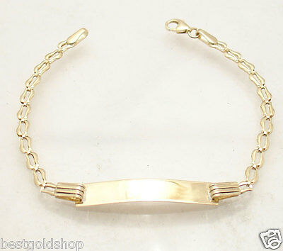 """6"""" Kids Childrens Bumble Bee ENGRAVABLE ID BRACELET REAL 14K Yellow GOLD"""