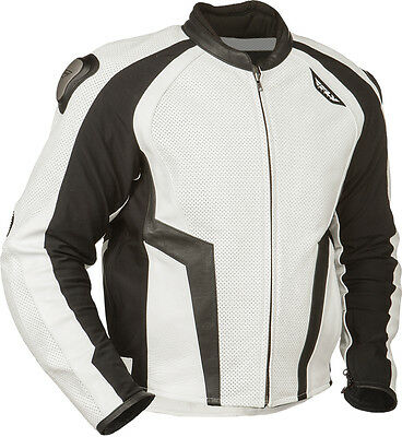 Fly Street Apex Leather Jacket White/black Sz 50