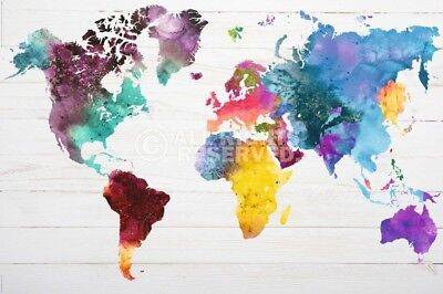 (LAMINATED) WORLD MAP IN WATERCOLOURS POSTER (91x61cm)  NEW WALL ART