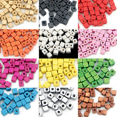 300pcs Wood Spacer Loose Wooden Craft  DIY Jewelry Cube Beads 5x5mm