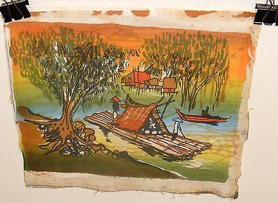 Malaylsian Village Seascape Boats Small Original Batik Painting Unsigned