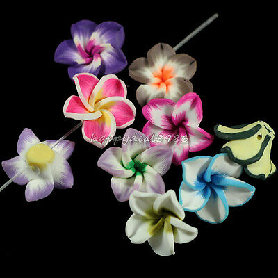 50pcs Pretty Mixed Polymer Fimo Clay 5-leaves Flower Spacer Beads 20mm