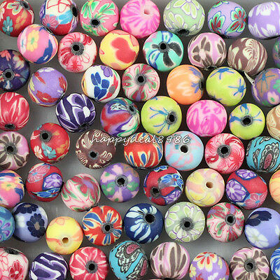 100pcs Pretty Mixed Polymer Fimo Clay Round Ball Spacer Beads 8mm