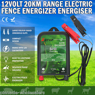 NEW 20km12V Power Electric Fence Energiser Charger Poly Wire Tape Posts