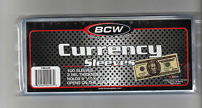 100 Regular Dollar Bill Currency Sleeves - Money Holders- Protectors - FREE SHIP