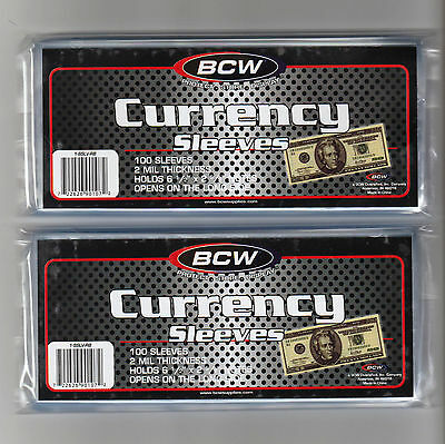 200 Regular Dollar Bill Currency Sleeves - Money Holders- Protectors - Brand New