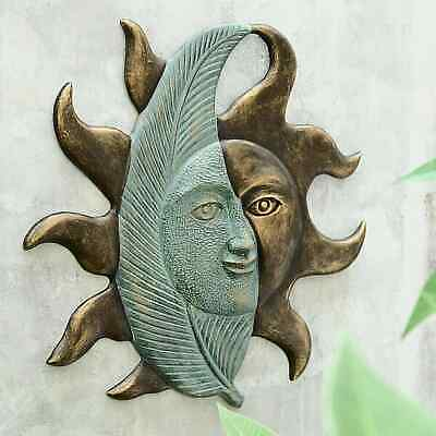 Sun & Leaf Half Face Wall Art Celestial Metal Sunburst Pool Garden Plaque