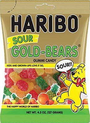 Haribo Sour Gold-Bears Gummi Candy Bag 4.5 oz/127g 12 Bags