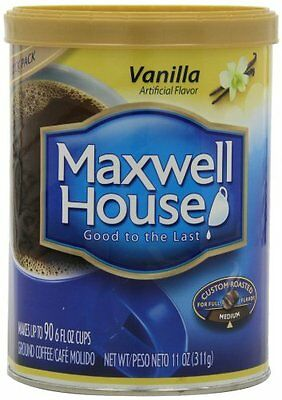 Maxwell House Vanilla Ground Coffee, 11-Ounce Cannister Pack of 3
