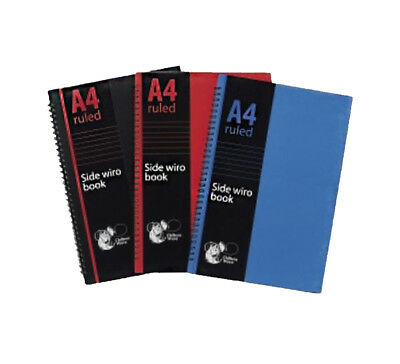 A4 Ruled Lined Hardback Book Note Pad Spiral Bound Side Wired Wiro School Office