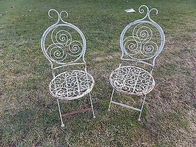 Pair Unusual Metal Folding Ornate Garden Chairs Chair Outdoor Patio Vintage