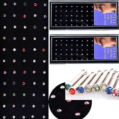 60X Tiny Surgical Steel Nose Studs Ring Mixed Rhinestone Body Piercing Jewelry N