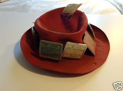 1950 Fisherman's Hat with 9 New Hampshire Licenses, Holders, Hunting Licenses