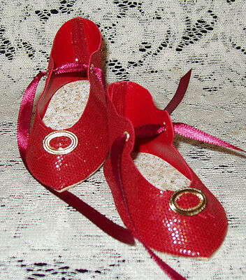 """French Style Leather Doll Shoes for 3 1/4"""" foot x 1 5/8""""~ Red Sparkle"""