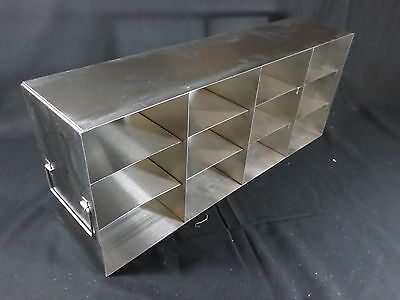 "Laboratory Stainless Steel 12-Position 3"" Standard Box Freezer Rack 24"" Deep"