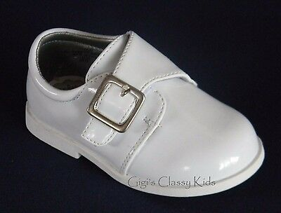 New Baby Toddler Boys White Dress Shoes Baptism Christening Dedication Shiny