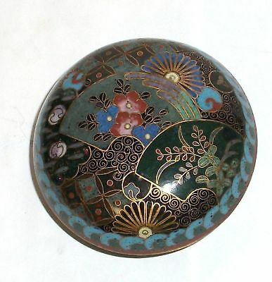 Japanese Cloisonne Enamel Fans Designs Jar Bowl Box