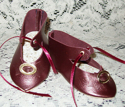 """Jumeau French Style Leather Doll Shoes for 3 1/2"""" foot x 1 5/8""""~ Wine Pearl"""