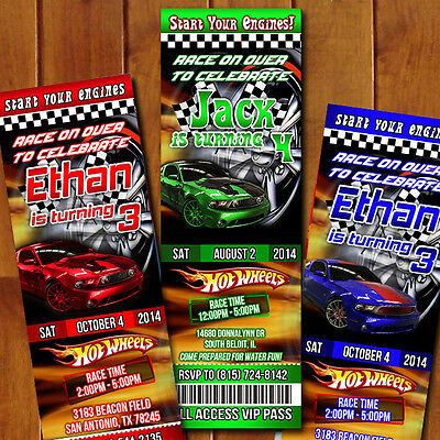 Hot Wheels Cars Ticket  Custom Birthday Party Invitations