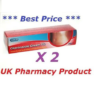 Clotrimazole Cream 1% Canesten Thrush/Nappy Rash/Ringworm/Athletes Foot -20g x 2