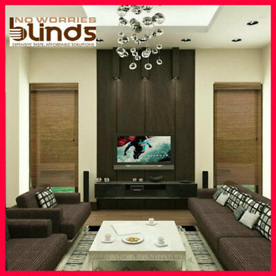 NEW! 150 x 210 Bamboo Roman Blind Blinds Teak & Black Room Darkening Ready Made