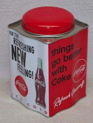 """Coca-Cola Tea Caddy Tin """"for That New Refreshing Feeling"""" - New!"""