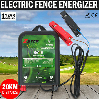 NEW 20km12V Electric Fence Energiser Charger Poly Wire Tape Posts