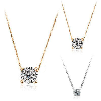 18K Gold Gf 1Ct Solitaire Simulated Diamond Lady Wedding Dainty Necklace Pendant